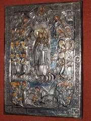 Икона «Матерь Божия Всех скорбящих радосте» в cтаринном окладе.