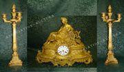 Великолепный каминный гарнитур «МУЗА» - часы с канделябрами,  Франция,