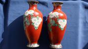 Две старинные вазы Клуазоне. Япония,  период Мэйдзи,  нач. XIX  века.