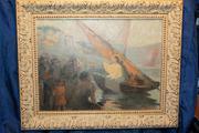 Старинная картина «Проповедь Иисуса Христа на Тивериадском озере».XIXв