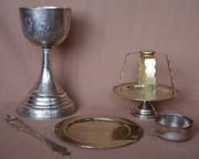 Старинный евхаристический набор из 6-ти предметов. Серебро «84»,  XIX в